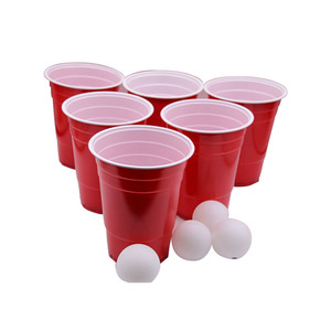 18oz 16oz 510ml wholesale American plastic cup solo red ps custom logo beerpong printed beer pong set disposable plastic cups
