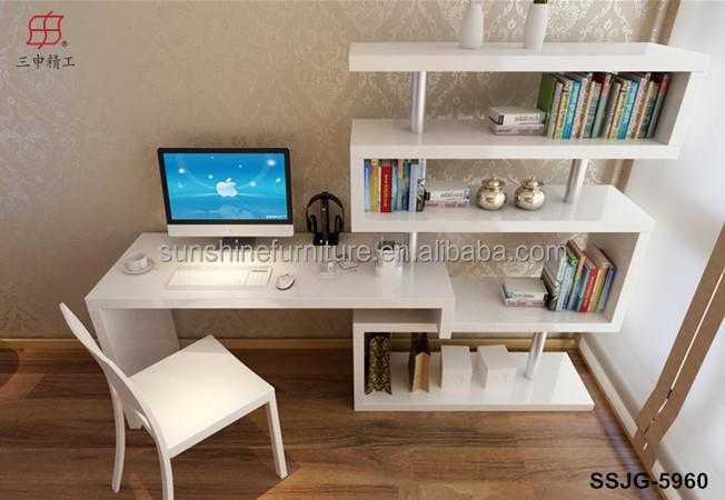 En bois portable coin bibliothèque bibliothèque avec bureau d