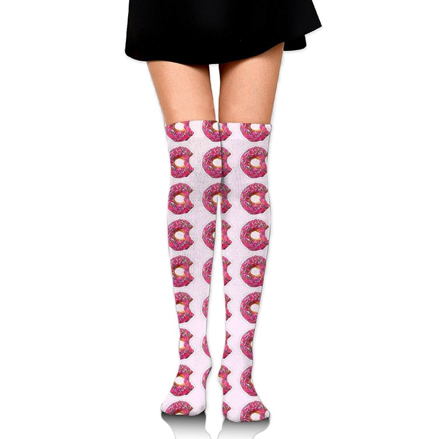 Zaqxsw Doughnut Food Women Fashion Thigh High Socks Cotton Socks For Ladies
