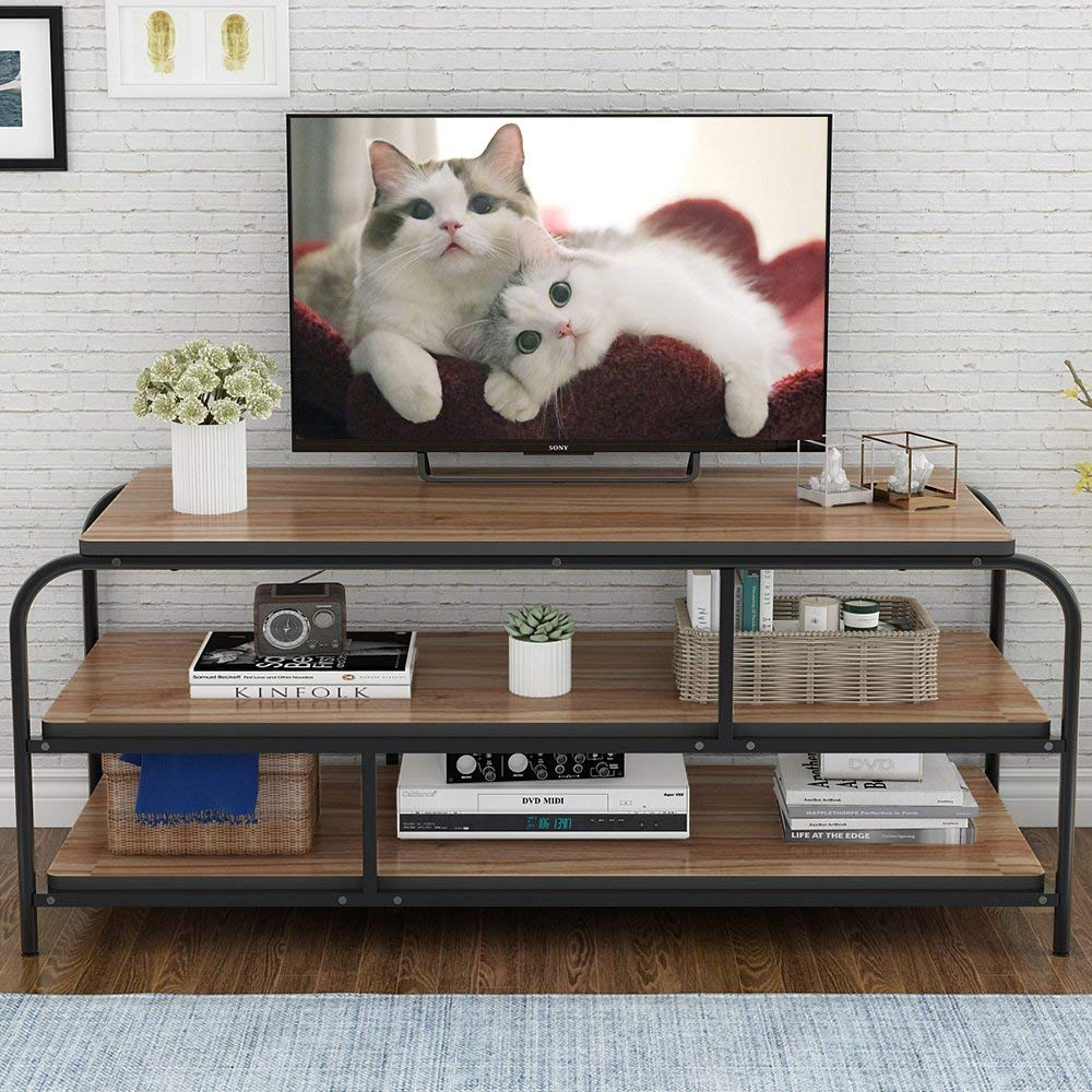 """LITTLE TREE TV Stand, 60"""" Entertainment Center with Shelves, Large 3-Tier Media Console Table for Living Room, Heavy Duty Metal Frame, Oak"""
