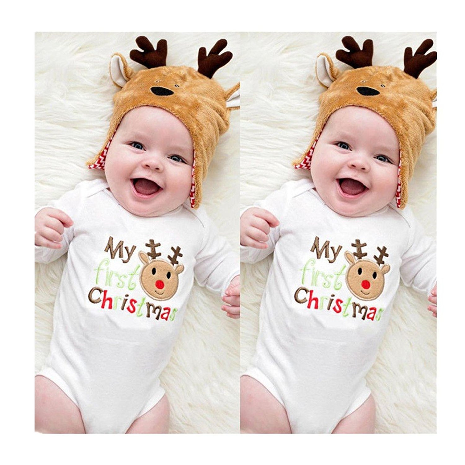 bf0331394cc057 Get Quotations · Efaster Christmas Newborn Cute Kids Baby Romper Jumpsuit  Bodysuit Clothes Outfit