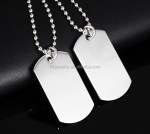 Stainless Steel blank military tag Necklace Classical men fashion