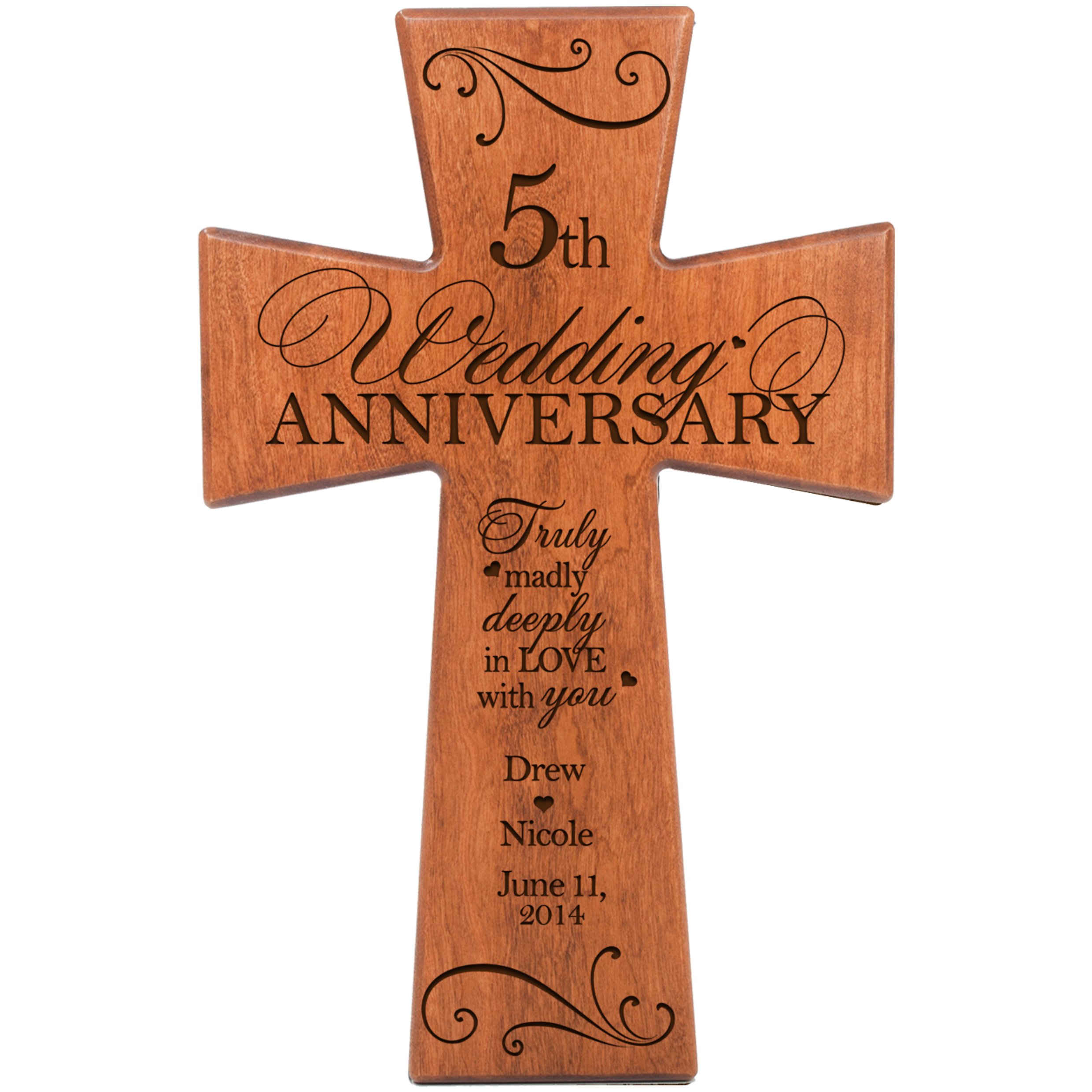 Personalized 5th Wedding Anniversary Cherry Wood Wall Cross Gift For 5 Year Gifts