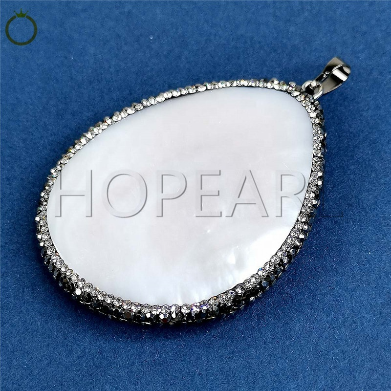 MOP213 Pave Rhinestone Encrusted Large Teardrop White Shell Pendant