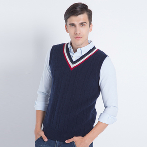Constracted design Crew V-neck Men's Winter Sweater cashmere vest