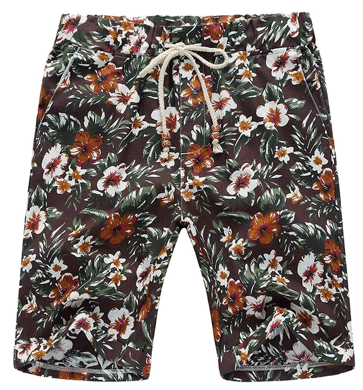 5167b0c89ed4 Get Quotations · Qiangjinjiu Men's Drawstring Hawaiian Print Shorts Beach  Boardshorts