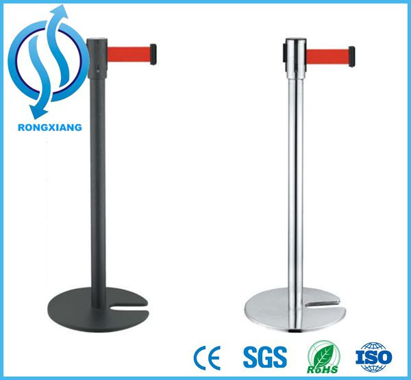 Standing Queuing Pole Barriers Double Retractable Belt Stanchions