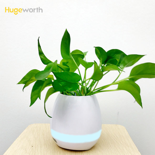 Newest products office decoration items desk flower pot with bluetooth speaker indoor plant pots modern