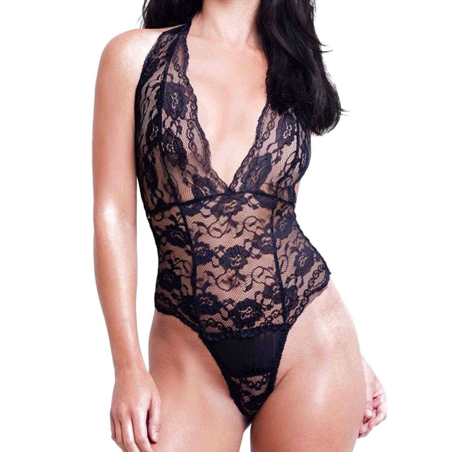 17a6d318588 DongDong Hot Sale! Lady Sexy Lingerie Embroidery Lace Halter Bustier Vest  Crop Bandage Sexy Lingerie