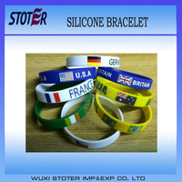 Cheap selling customized Country Flag Silicone Wrist band
