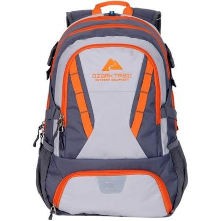 Ozark Trail 35L Choteau Heavy-duty Ripstop Material, Hydration-compatible, Multiple Storage Compartment, Daypack Backpack with 2 Water Bottle Pockets- Gray/Orange