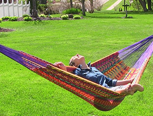 Sunnydaze Mayan Family Hammock Hand-Woven XXL Thick Cord, 880 Pound Capacity, Multi-Color
