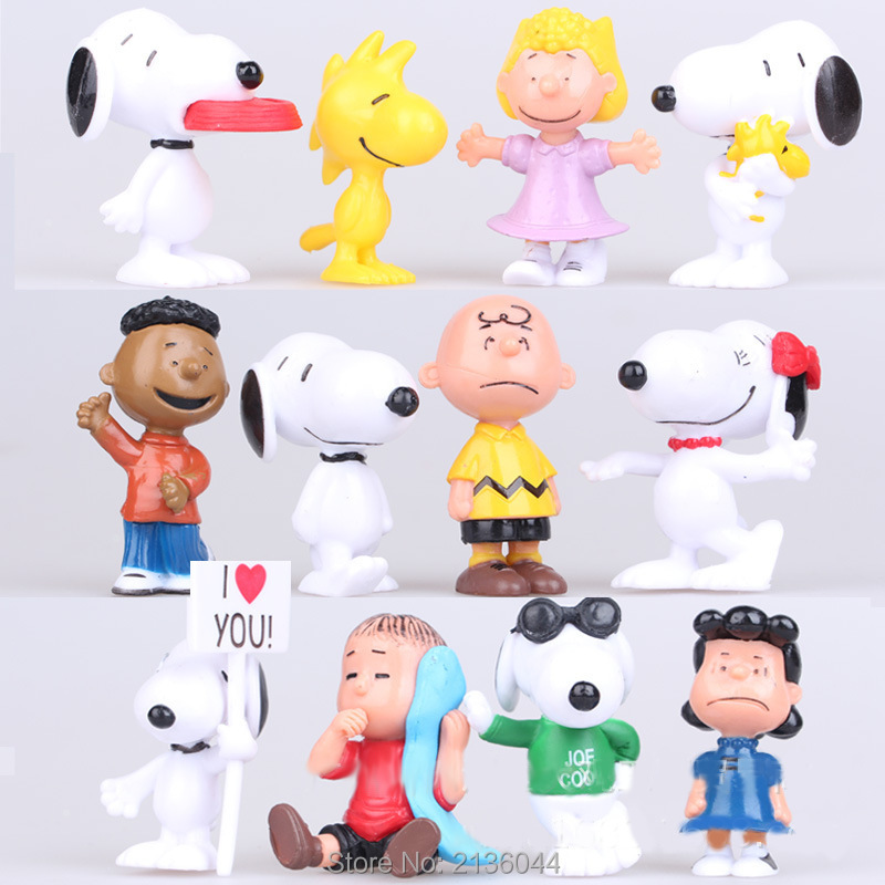 12Pcs/bag The Peanuts Movie Charlie Brown Toys Animal Cartoon Action Figures Collection Kids Toys Gift for Children boys girls