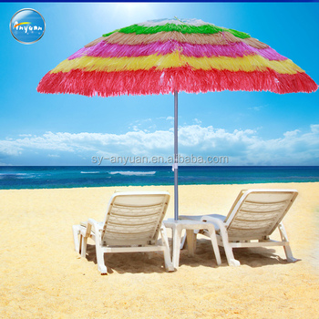 Hawaii Gr Hula Outdoor Beach Umbrella Parasol With Fringe