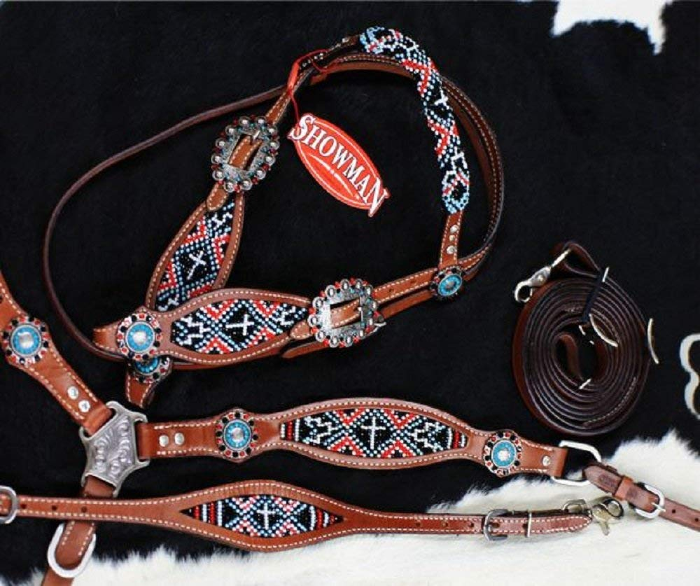 Showman 4 PC Red Black Cross Navajo Beaded Concho Leather Wither Strap Bridle Breast Collar Reins