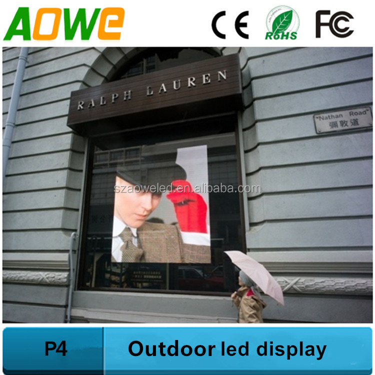 P4 outdoor led large screen display for shop windows high brightness led video wall
