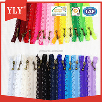 Factory supply plastic zipper with lace tape in closed-end type