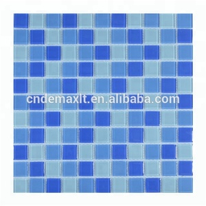 Blended blue glass mosaic for swimming pool tile