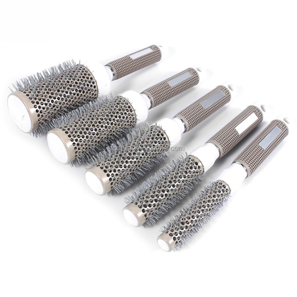 Professional Hair Dressing Brushes High Temperature Resistant Ceramic Iron Round Comb