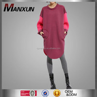 2015 Hotsale Autumn Women Clothing Chic Costume Fashion Block Apparel Loose Wine Red Coat Solid Block Dresses