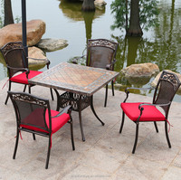 Outdoor cast aluminum chair and table sets square cast aluminum table and chair sets