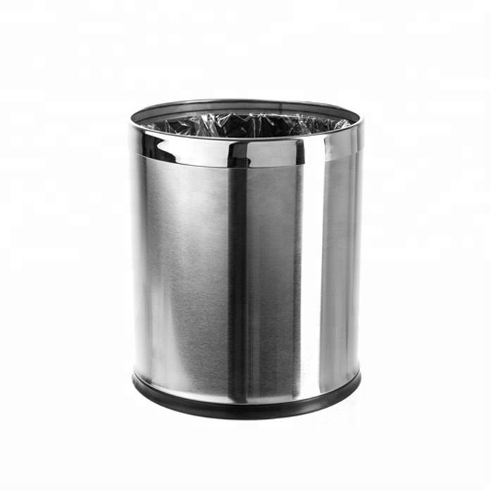 Wholesale Open Top Round Shape Stainless Steel Satin Trash Can Small Office Hotel Waste Basket Buy Waste Basket Hotel Trash Can Office Waste Basket Product On Alibaba Com