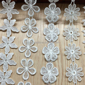 White Embroidery Flower Design Bridal Lace Trim For Garment Dress