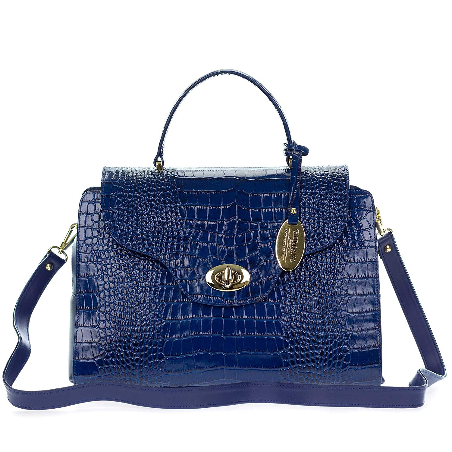Get Quotations · Giordano Italian Made Blue Croc Embossed Leather Medium Tote  Handbag b2a9469c741ce