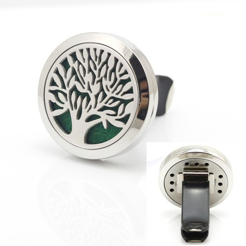 Tree of Life 316L Stainless Steel Car Air Freshener Aromatherapy Essential Oil Diffuser Locket With Vent Clip