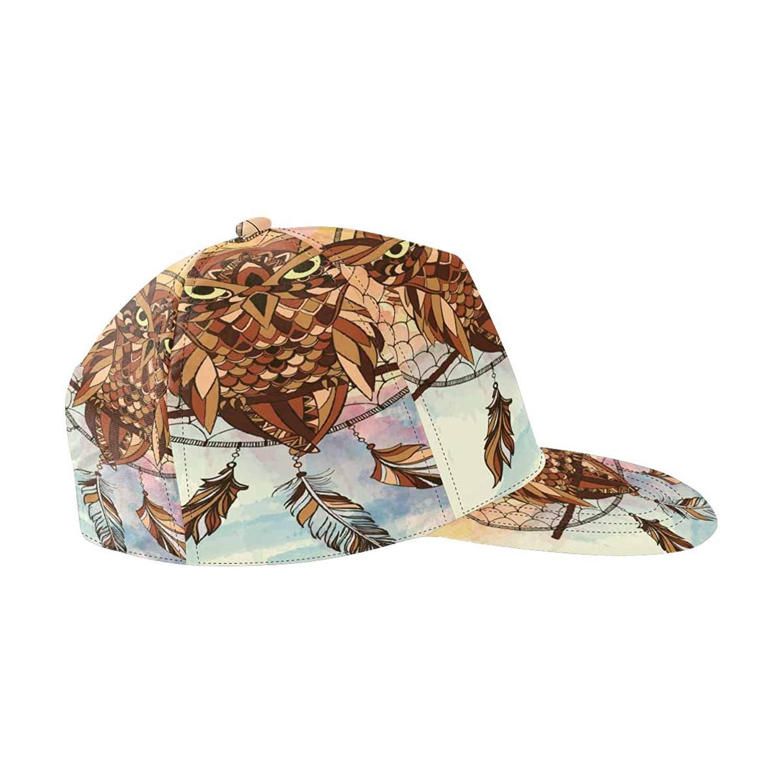 ebad5648eecd6 Get Quotations · InterestPrint Dream Catcher Owl Snapback Hats for Men Hip  Hop Hats Flat Brim Hats Flat Bill