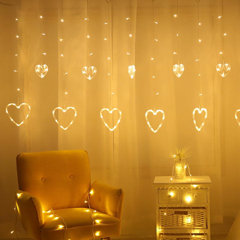 Stock Rideau lumières 138 LED Fée Coeur en forme de Chaîne de Rideau ...