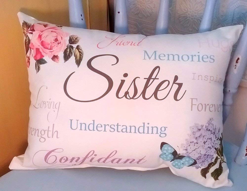 Sentimental Sister Gift Pillow with Rose, Butterfly and Hydrangea, Sister's Birthday Gift, Christmas Gift For Sister, Sister Gift