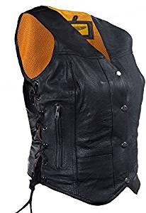 Womens Leather Motorcycle Vest with 7 Pockets (Size 4XL, 4X, XXXX-Large, 48)