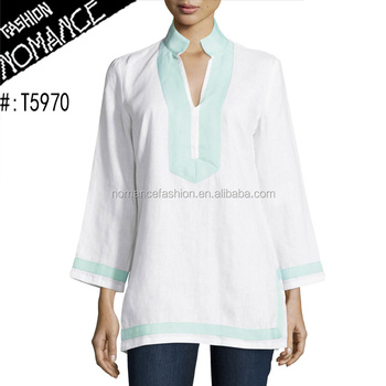 d360d3e90c07 Long Sleeve Indian India Wholesale Cotton White Tunic Tops For Women ...