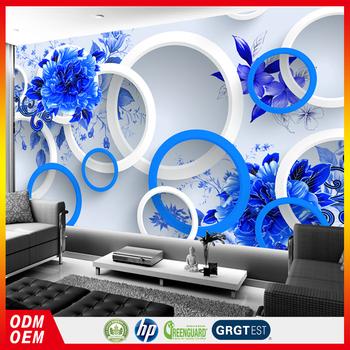 Blue And White Design 3d Bathroom Wall Tile Wallpaper Buy Blue Big