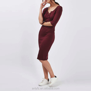 Anly fashion knitted fabric red sexy tight midi women bodycon sweater dress