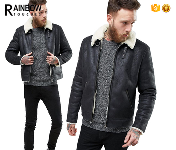 Heavy Weight Faux Shearling Men Suede Leather Jacket In Black