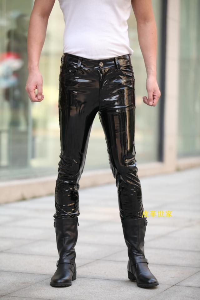 Hot Brand Fashion Men Leather Pants Luxury Designer Man
