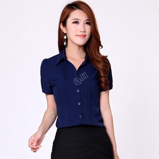 07a8906543e White   Blue Short Sleeve Design Lady Summer Shirts Large Size S-3XL Slim  Fit Fashion Women Chiffon Blouses Formal Tops H9908