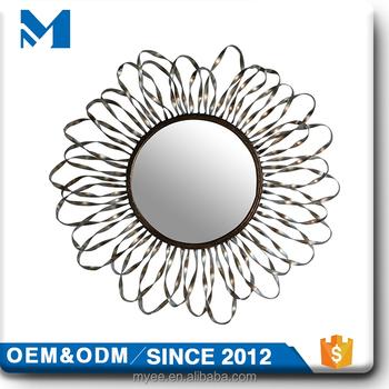 Design Decorative Antique Gold Sunflower Shape Frame Metal Wall Mirror For  Home Decor