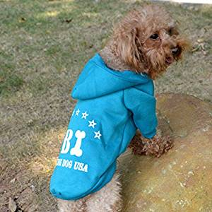 694752697cd Get Quotations · Allscarf007 Blue Casual Dog Warm Coat Clothes FBI Printed  T-shirt Sports Jersey Hoodie Fashion