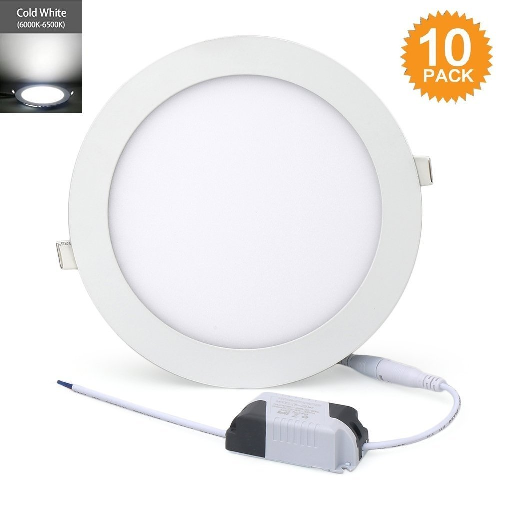 10 Pack 18W Ultra-Thin Led Panel Lights Round, Cold White 6000K,160 Degree Recessed Lighting,Hole size: 170mm,Energy Saving Down Lights,Super Bright Led Lamp for Home/Office/Commercial Lighting