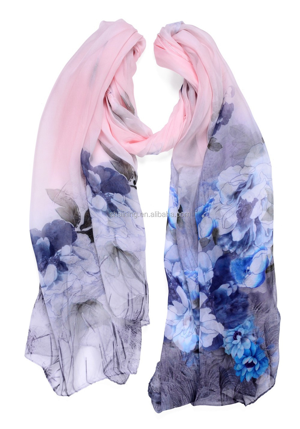 high quality custom design silk screen 100% silk chiffon Peach blossom scarf