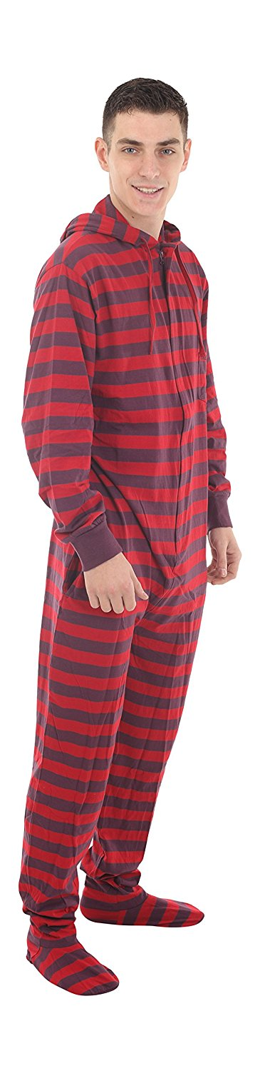 bae4c5a4d7 Get Quotations · funzee Footed Pajamas Adult Onesie Red Purple Stripes  Jumpsuit XS-XXL - Size on Height