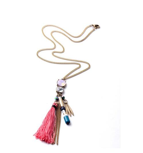 alibaba hot sale beautiful pendant Necklace,pink macrame Necklace, fashion style Necklace modern jewelry for girls