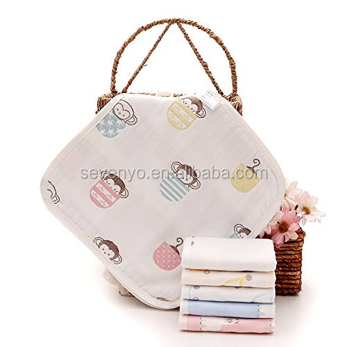 The six - ply cotton gauze small square towel napkin 25X25cm baby shower wash face and wash the baby towel S-101