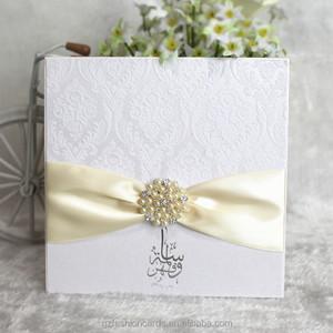 Luxury Jeweled Customized Flocking Fabric Wedding Invitation Card