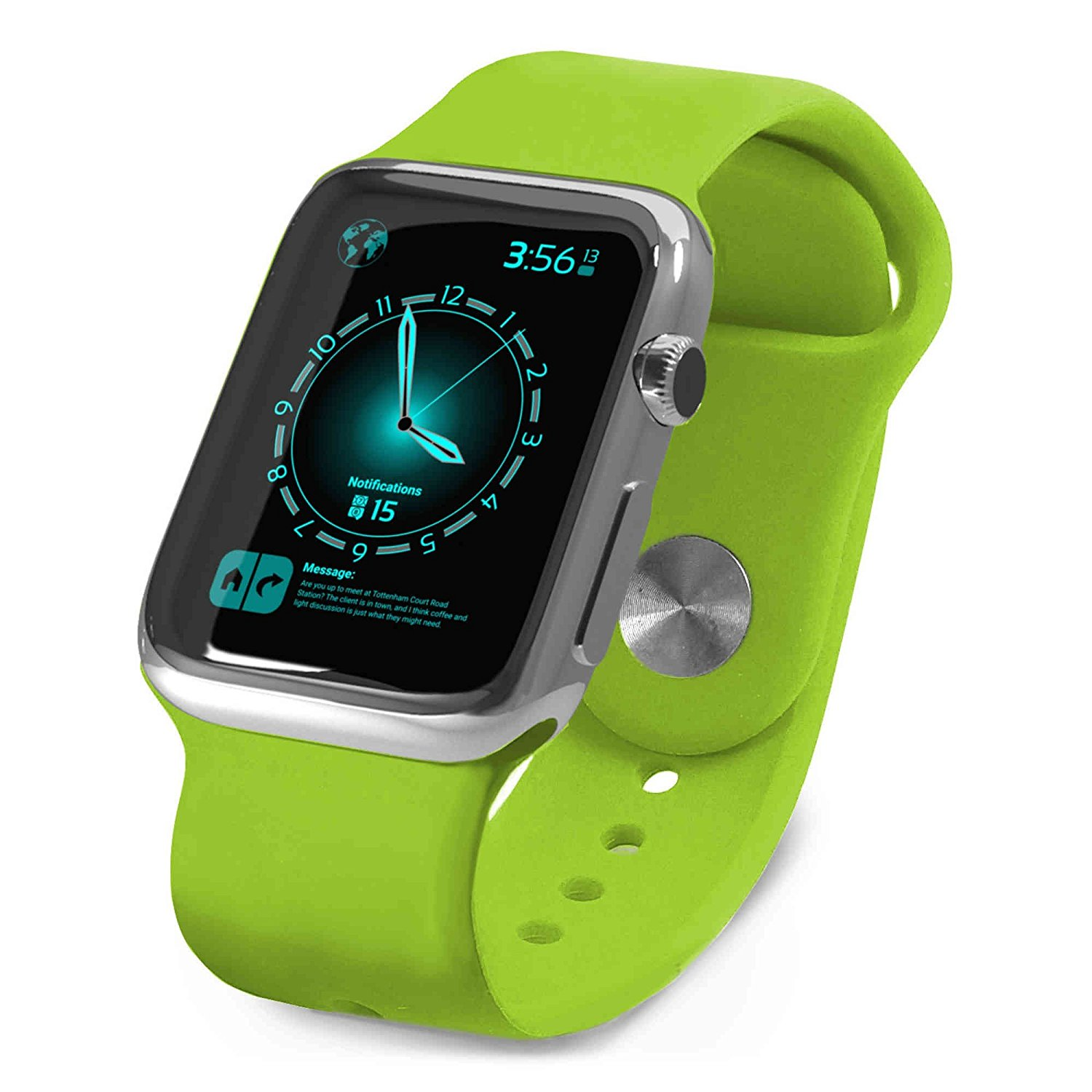 Tuff-Luv Silicone Wrist Watch Strap Band for Apple Watch Sport Strap 42mm - Green