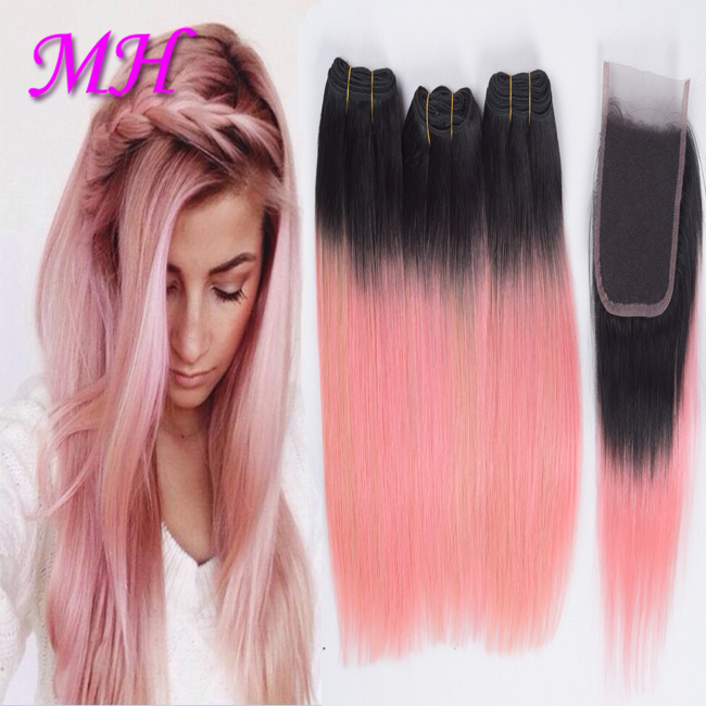 Human Hair Pink Weave Bundles Pink Hair Dye Ombre Hair Extension