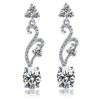 crystal inlaid zircon inlaid chain earring with pendant